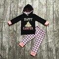 Crianças Caem roupas boutique meninas do bebê moletom com capuz roupas meninas campista feliz roupas meninas calça de moletom com capuz preto com cheques