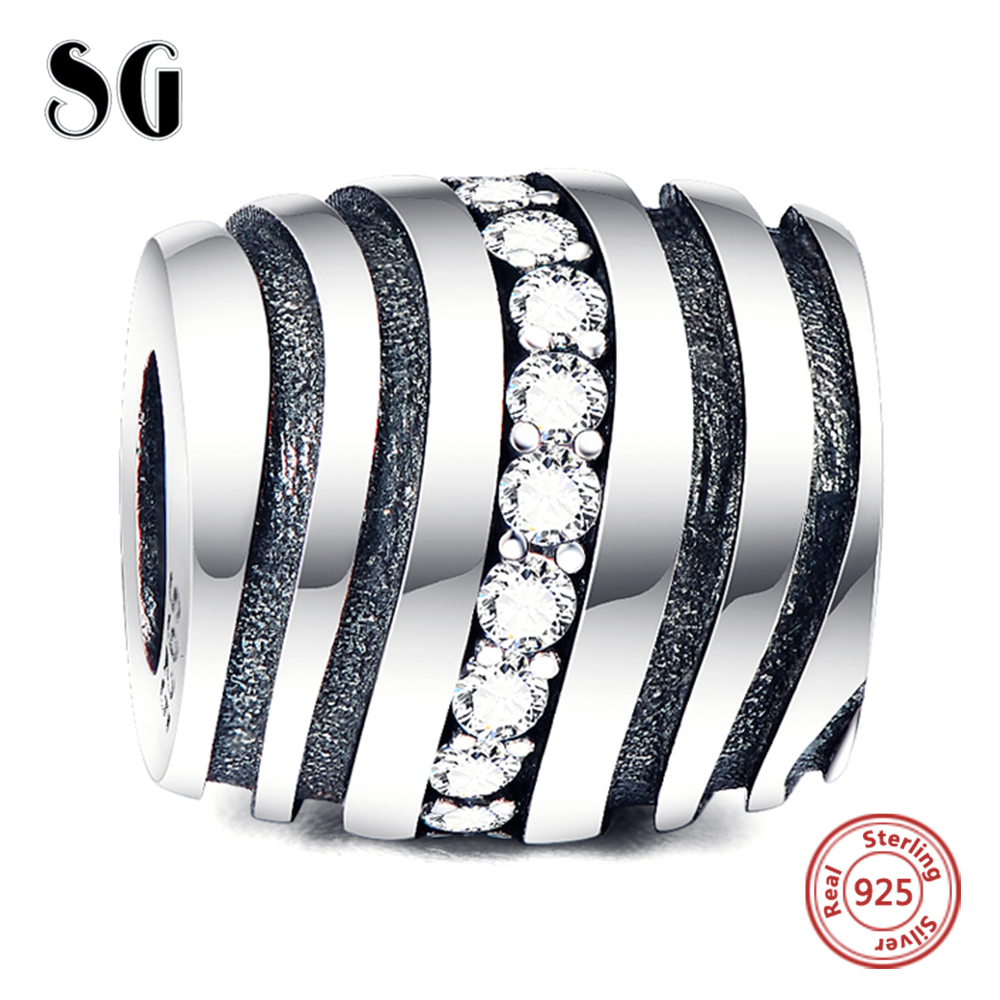 Real 925 Sterling Silver White CZ Charm Beads Fit Original pandora Bracelet DIY Fine Jewelry Wholesale for women Accessories in Beads from Jewelry Accessories