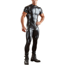 Sexy Mens PU Leather Tight Jumpsuit Zipper Open Crotch Nightclub Short Sleeve Bodysuit Shiny Erotic Zentai Catsuit Costumes