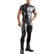 Sexy cuir synthétique polyuréthane pour hommes combinaison serrée fermeture éclair ouvert entrejambe discothèque à manches courtes body brillant érotique Zentai Catsuit Costumes