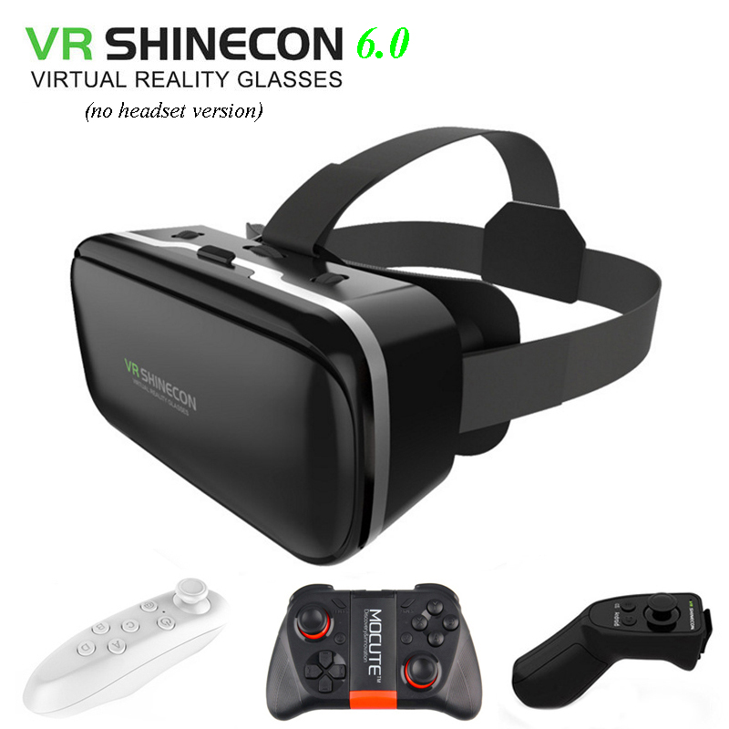 Original VR Shinecon 6.0 3D Immersive Virtual Reality Glasses Cardboard VR Box Headset for 4.5-6.0 inch Smartphone + Controller