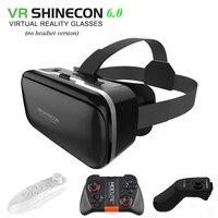Oryginalne VR Shinecon 6.0 3D wciągające okulary do VR kartonowe pojemnik VR zestaw słuchawkowy do 4.5-6.0 cal smartfon + kontroler