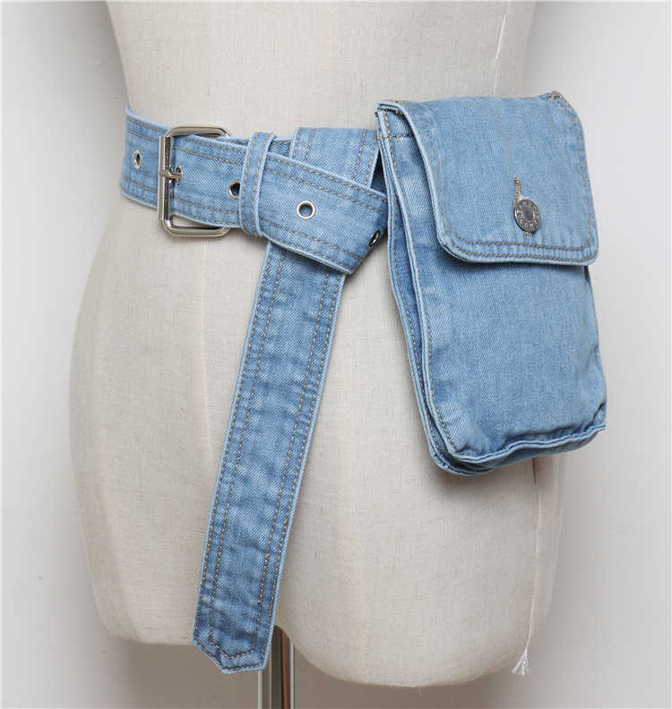 Европейская ВИНТАЖНАЯ ДЖИНСОВАЯ ткань женская сумка на пояс женская летняя рубашка пояс для платья поясная сумка для телефона пояс с кошельком 2019
