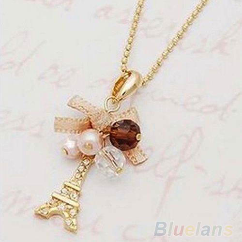 Hot Hot Eiffel Tower Pendant With Necklace Golden Plated Chain Fashion Jewelry  7FR8 BDII