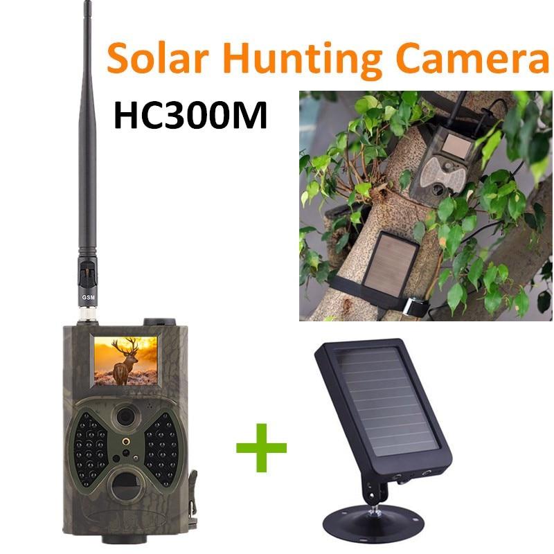 HC300M chasse sentier piège caméra jeu caméra sauvage Vision nocturne MMS GPRS avec panneau solaire chargeur de puissance paquet de pièges Photo