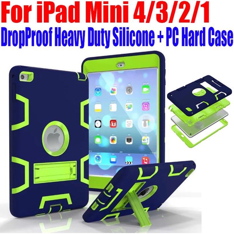 Para iPad Mini 4/3/2/1 Estuche rígido de silicona + PC Kids Safe Armor Drop Shock Proof Heavy Duty con protector de pantalla IM409
