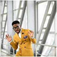 Fashion Men's Suit Slim Fit 2 Pieces Yellow Party Suits Tuxedos Blazers for Men Jacket+Pants