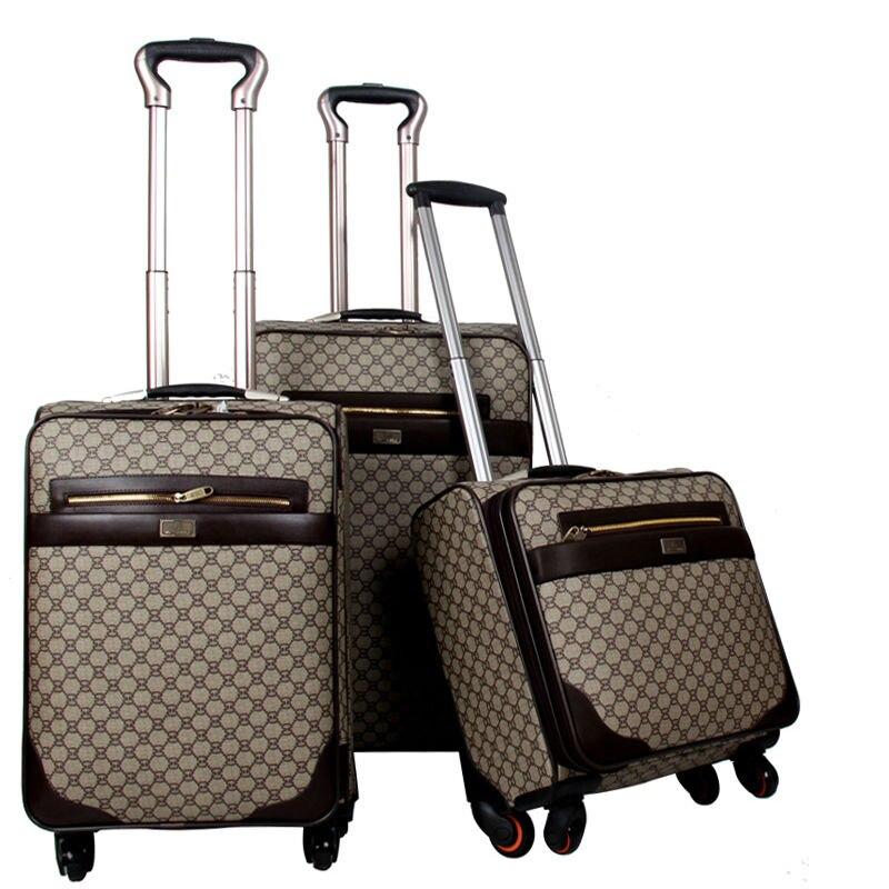 PU suitcase luggage sets women \u0026 men\u0027s travel bags trolley bag suitcases  rolling luggage