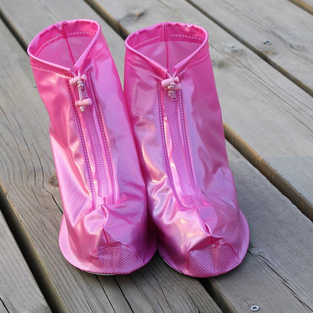 Schuhüberzug DemüTigen Wasserdichte Schutz Schuhe Abdeckung Hohe Qualität Unisex Zipper Wiederverwendbare Regen Schuh Abdeckungen High-top Anti-slip Regen Schuhe Fällen