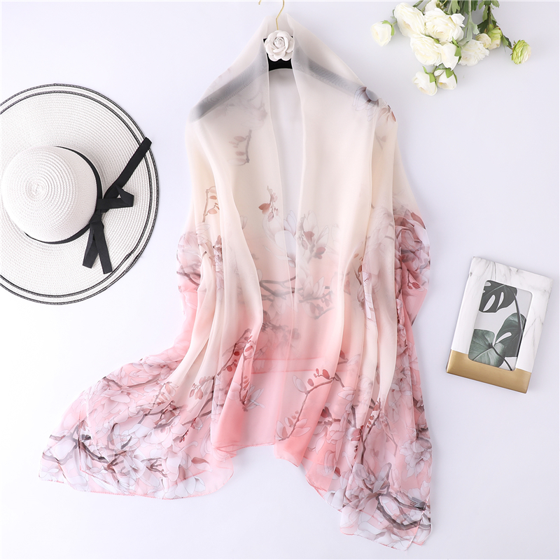 2019 new summer silk   scarf   large size shawls and   wraps   women beach stoles floral print foulard female pashmina bandana   scarves