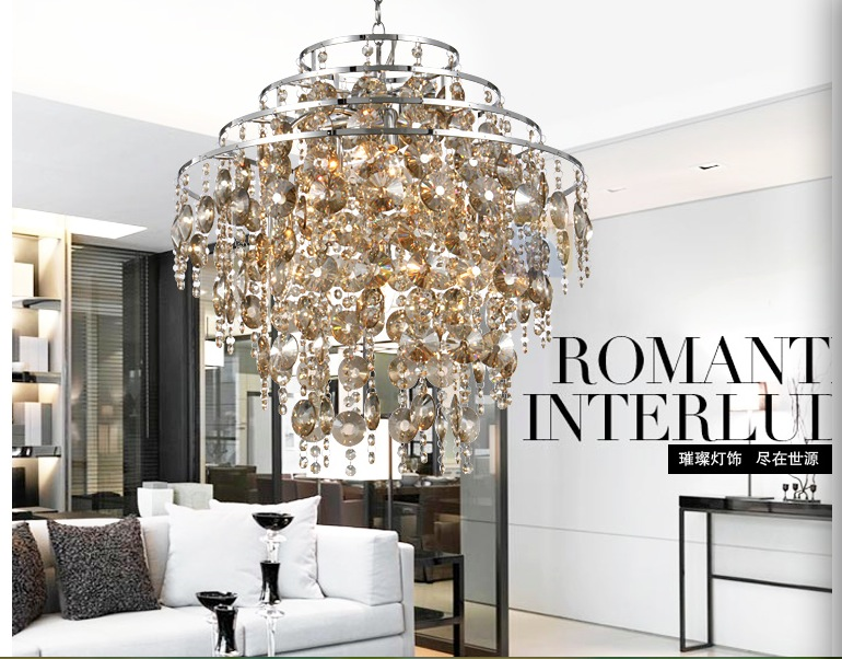 Free Shipping Modern Champagne Crystal Pendant Lamp Ceiling Lamp Chandelier Dining Room Lighting D500mm AC 100% Guaranteed free shipping high quality modern crystal ceiling lamp golden crystal ceiling lighting sy4062 4l d500mm ac 100