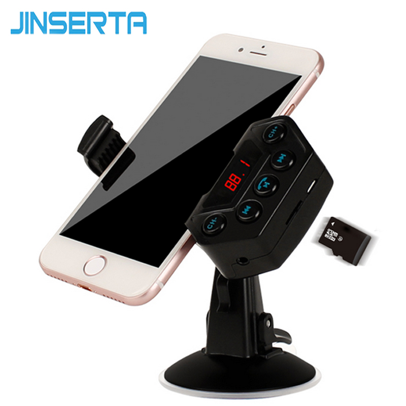 JINSERTA Car MP3 Audio Player Bluetooth FM Transmitter Wireless Modulator Car Kit HandsFree Phone Holder Support TF Card