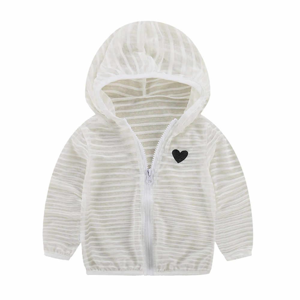 Niño niños verano protector solar chaquetas bebé niñas prendas de vestir exteriores con capucha Zip abrigos niños niñas rayas protección solar ropa