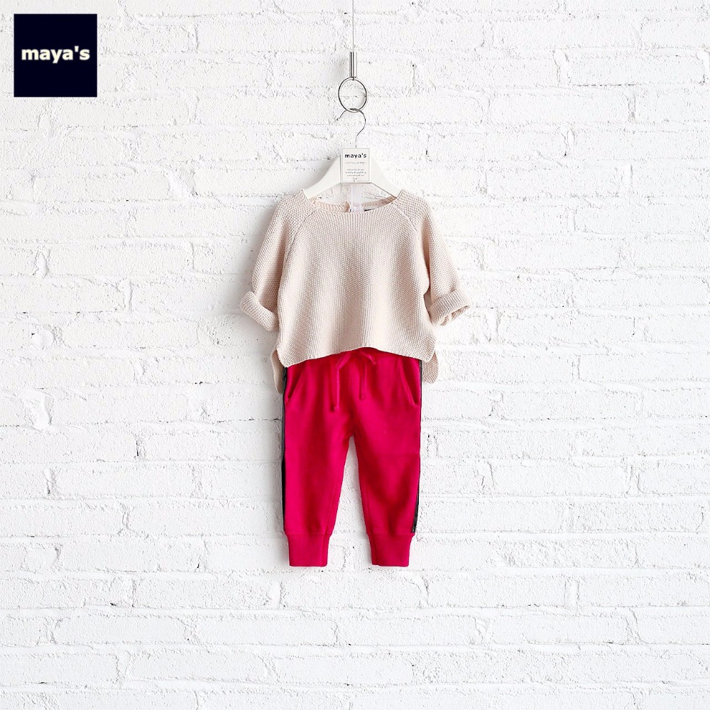 все цены на Mayas Girls Knitted Color Blocking Clothing Sets Striped Pants O Neck Homewear Toddler Basic Tracksuits Free Shipping 70003