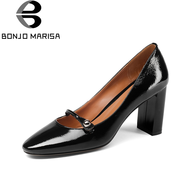 BONJOMARISA Brand Design Genuine Leather Square High Heels slip-on Solid Shoes Woman Fashion Spring Pumps Big Size 33-43 bonjomarisa brand new genuine leather square high heels solid metal decoration bowtie shoes woman casual summer pumps