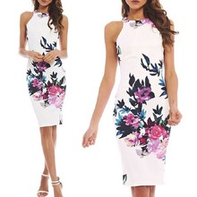 Mulheres sexy do verão vestidos florais bodycon casual partido evening clube curto mini dress y12