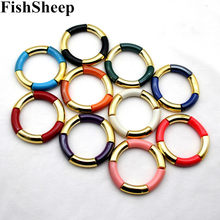FishSheep Acrylic Curved Beads Charm Bracelets Femme Gold Color Beaded Chain Stretch Cuff Bracelets & Bangles Women Jewelry(China)