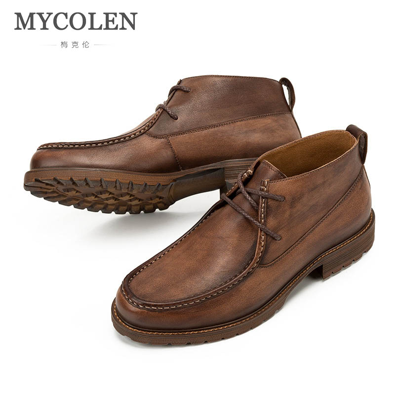 MYCOLEN 2018 British Style Handmade Men Boots Genuine Leather Men Autumn Martin Boots Work Safety Winter Ankle Boots Shoes mycolen new men s winter leather ankle boots fashion brand men autumn handmade boots leisure martin autumn boots mens shoes