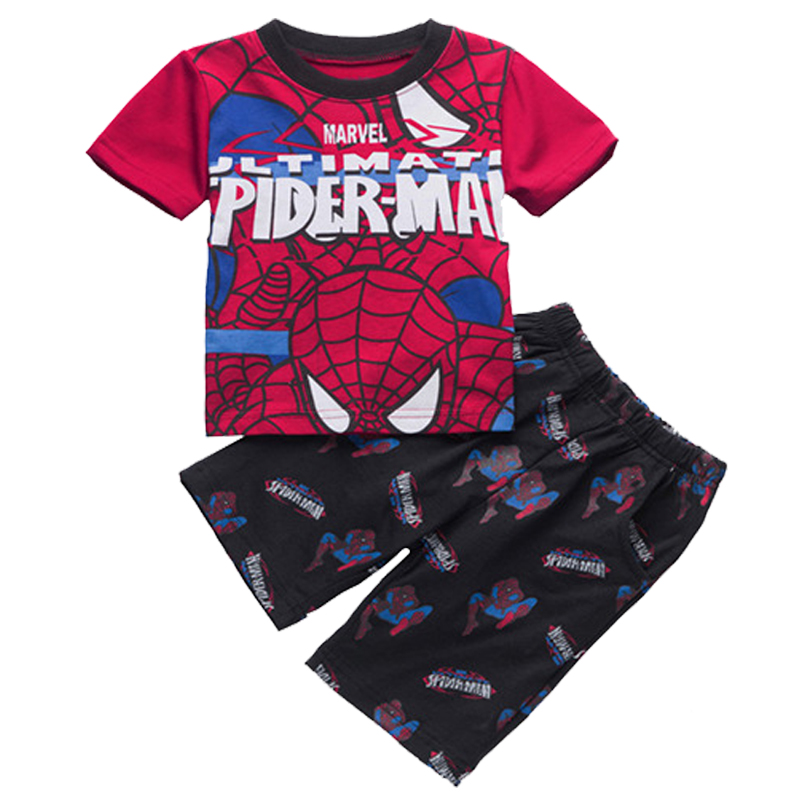 Boys girls pajamas superhero spider man children Tops Short Sleeve Shorts T-Shirt Summer ...