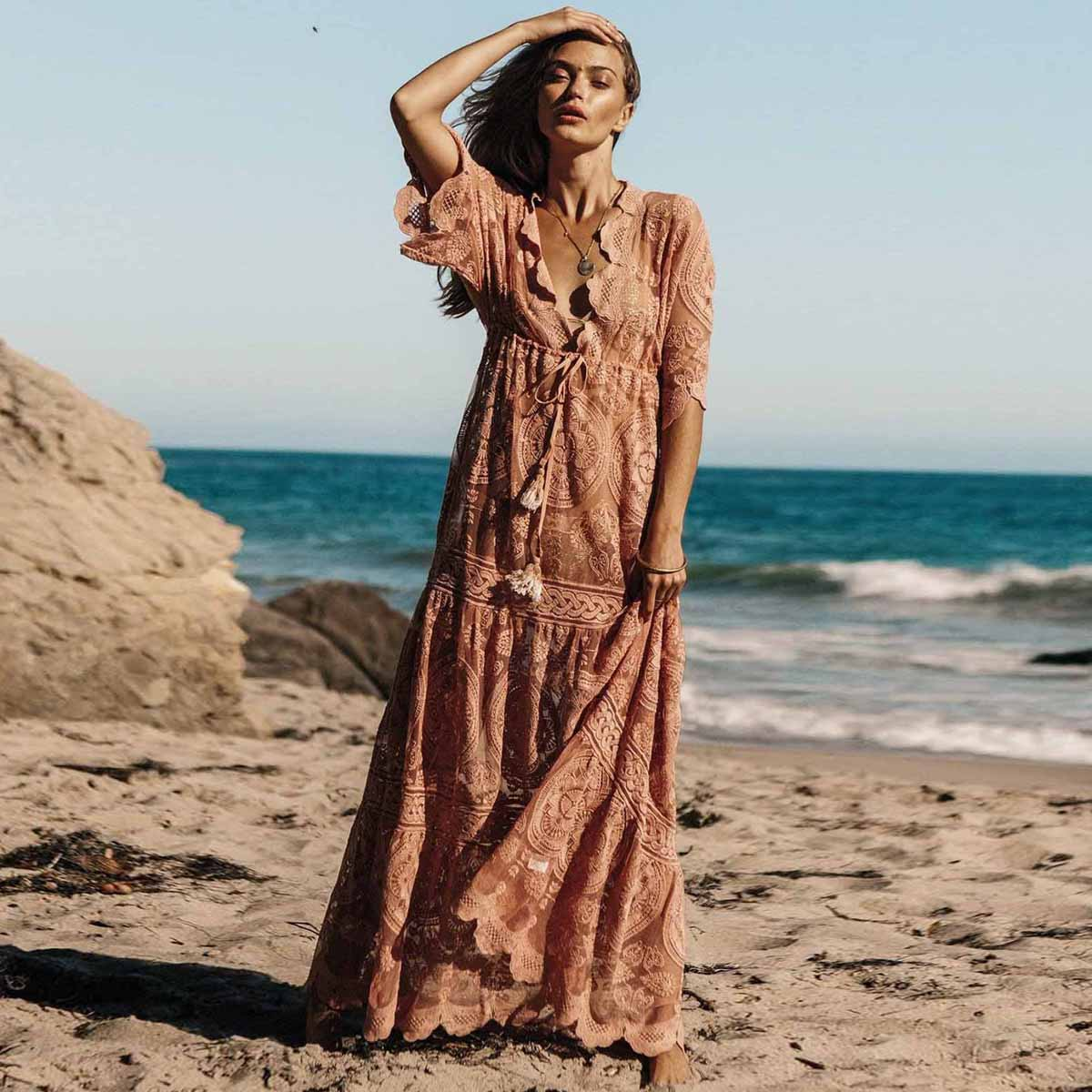 Jastie Embroidery Lace Dress V neck Split joint Cover up Maxi Dresses 2019 Summer Beach Holiday
