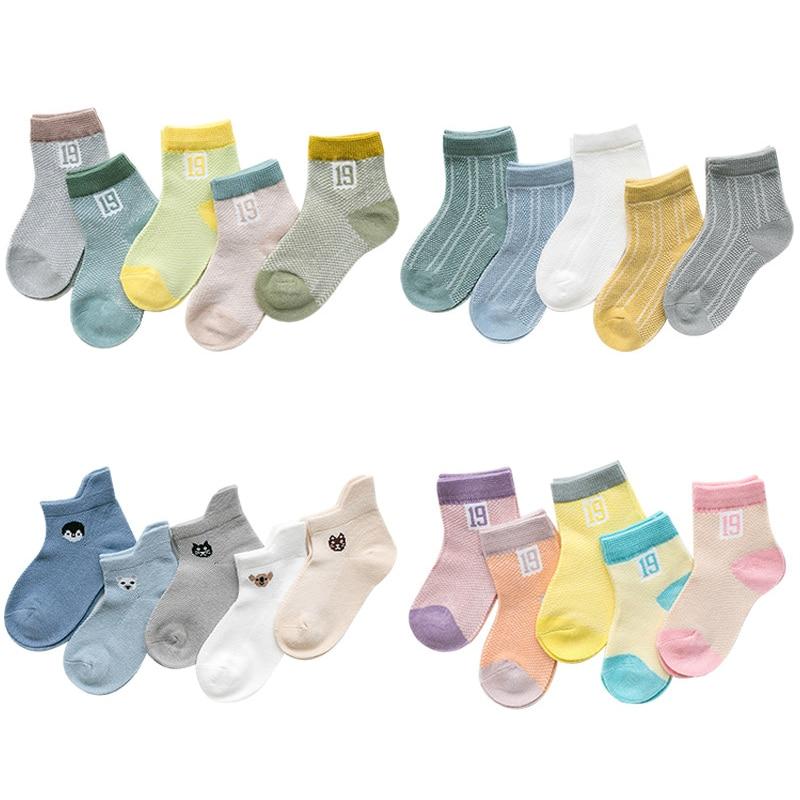 5pairs/Lot 2019 Summer New Kids Cotton Socks. Boy Girl Baby Cartoon Ultra-thin Mesh Socks. For 1-12 Years Children Fashion Socks