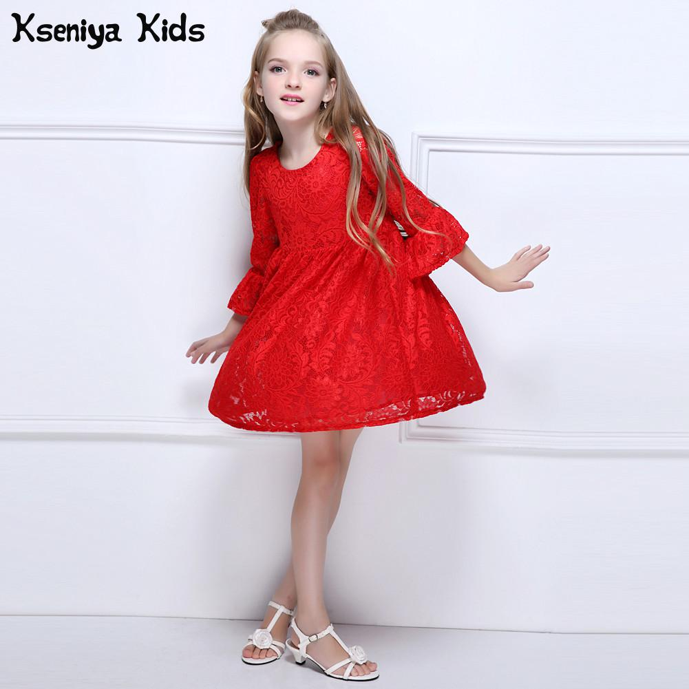 Kseniya Kids Red Spring Antumn Girl Lace Dress Clothes Kids Dresses For Girls Princess Party Wedding Long Sleeve Baby Girl Dress girls europe and the united states children s wear red princess long sleeve princess dress child kids clothing red bow lace