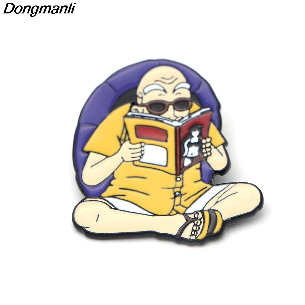 P2302 Dongmanli 20pcs lot wholesale Anime Dragon Ball Cute Master Roshi Kame Sennin Metal enamel badges