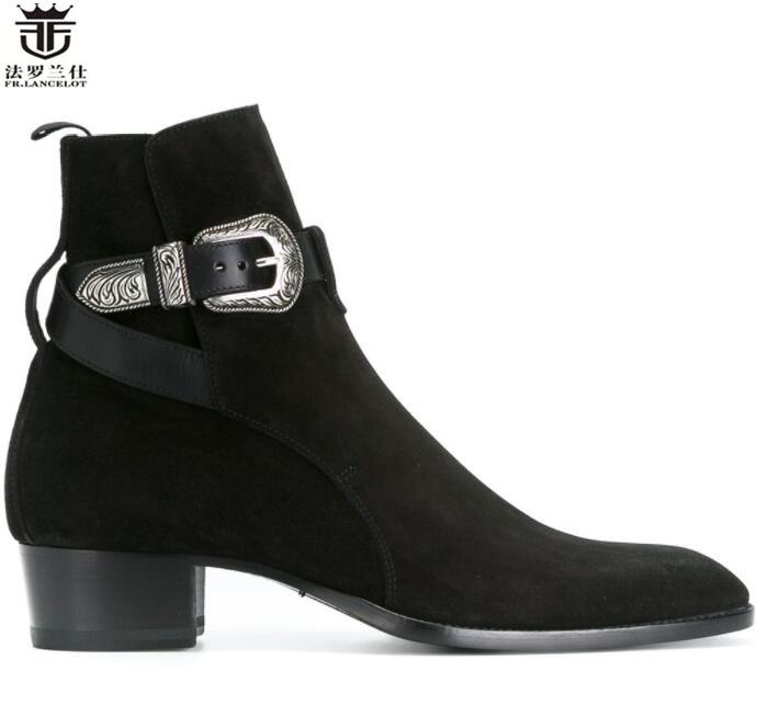2019 FR LANCELOT cowboy style boot european men chelsea boot pointed toe metal buckle men leather