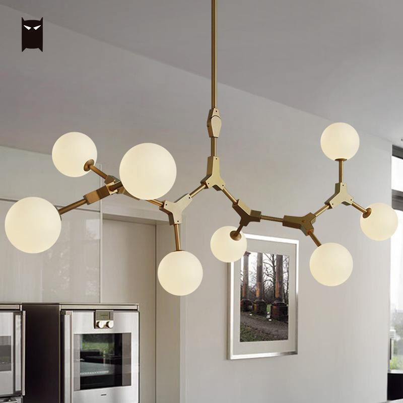 Gold Iron Frosted Milky Glass Ball Magic Bean Chandelier Fixture Contemporary Nordic Tree Branch Lustre G4 LED Lamp Lighting