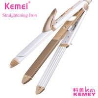 Plancha rizadora KEMEI 3 en 1 de cerámica con peine, plancha rizadora y alisadora de KM-1213