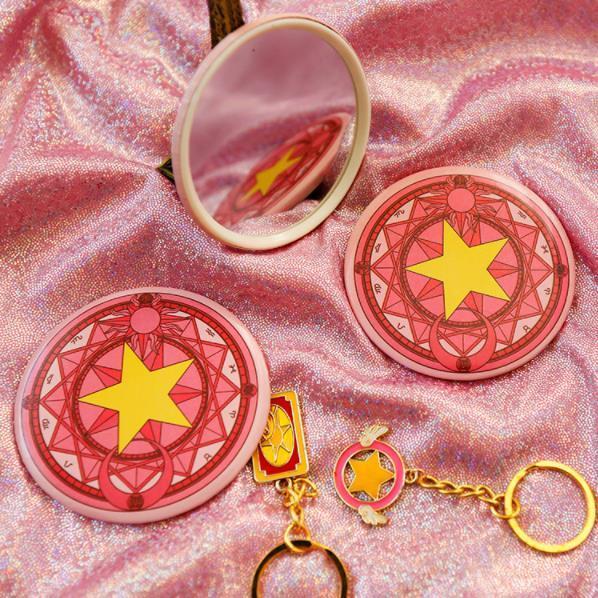 2pcs Cardcaptor Sakura Magic Wand Dreamlike Round Roundness Mirror Pink Kawai Mini Pocket Mirror Gift Creative