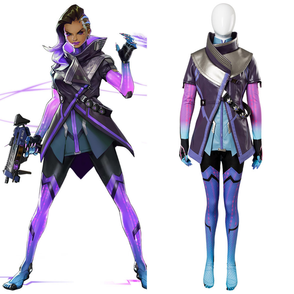 OW Cosplay Costume Sombra Hacker Cosplay Costume Adult Women Outfit Halloween Carnival Cosplay Costumes