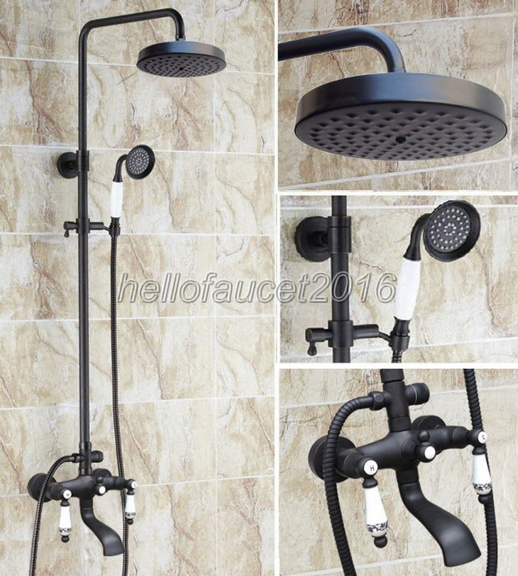 Black Oil Rubbed Bronze Bathroom Rain Shower Faucet Set Wall Mounted Bath Tub Mixer with Handheld Shower Heads lhg128