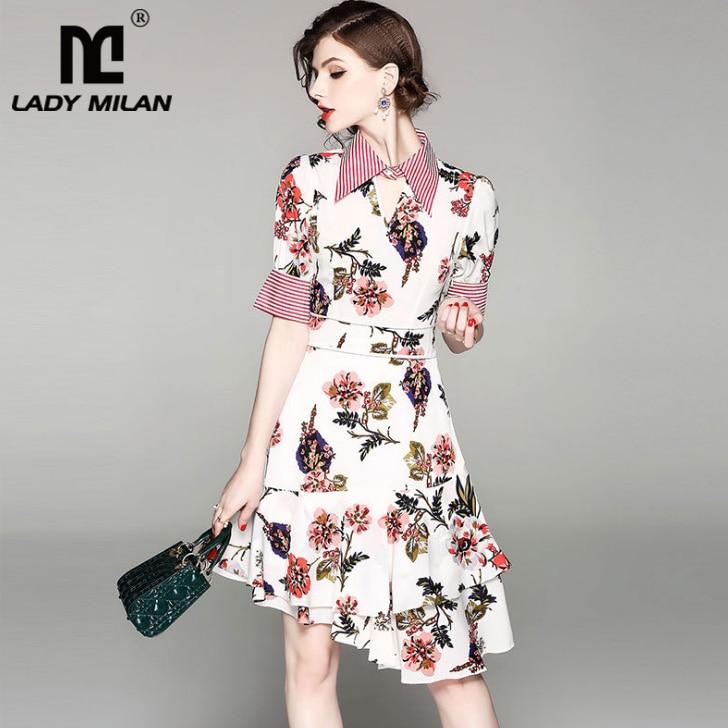 Lady Milan 2018 Womens Turn Down Collar Short Sleeves Floral Printed Ruffles Asymmetrical Fashion Casual Dresses