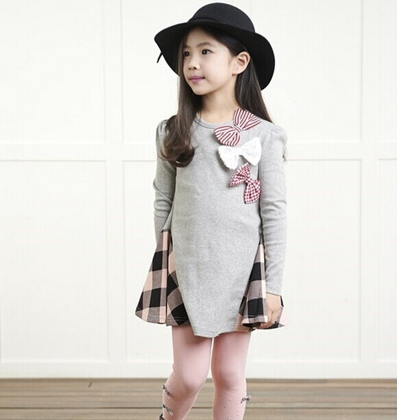 Children `s spring and autumn girls bow plaid child children` s cotton long - sleeved dress baby girl clothes 2 3 4 5 6 7 years