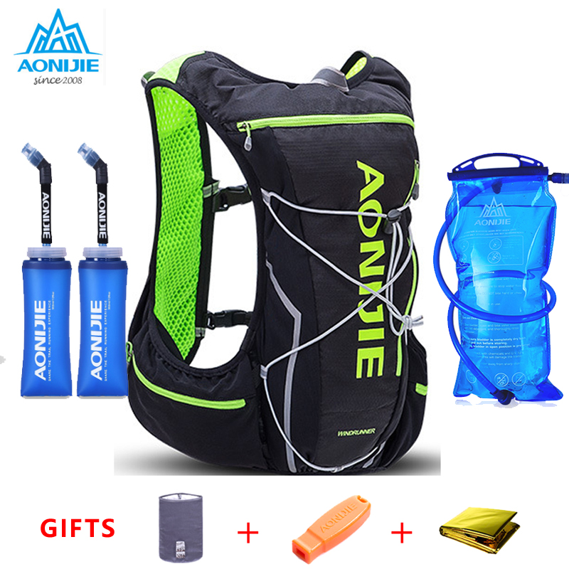 2019 AONIJIE Pro Men Women 10L Outdoor Bags Hiking Backpack Vest Marathon Running Cycling Backpack Optional
