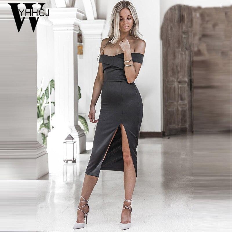 WYHHCJ 2017 sexet off skulder sommer kjole mode Side Slit fest - Dametøj - Foto 4