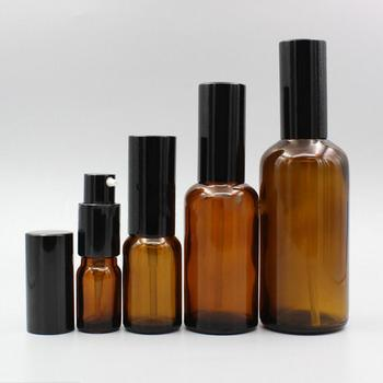 200pcs 10ml/15ml/20ml/30ml/50ml brown glass fine mist spray bottle,electrochemical aluminum nozzle and lid