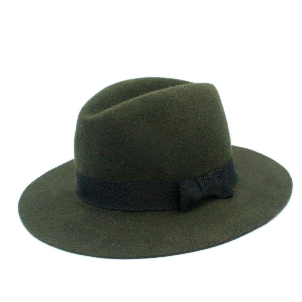 100% Wol Musim Dingin Musim Gugur Pria Floppy Lebar Brim Merasa Trilby Topi  Ikatan Simpul Cloche Panama Fedora Topi Untuk Pria Atas di Fedoras dari ... 26b1fa1736