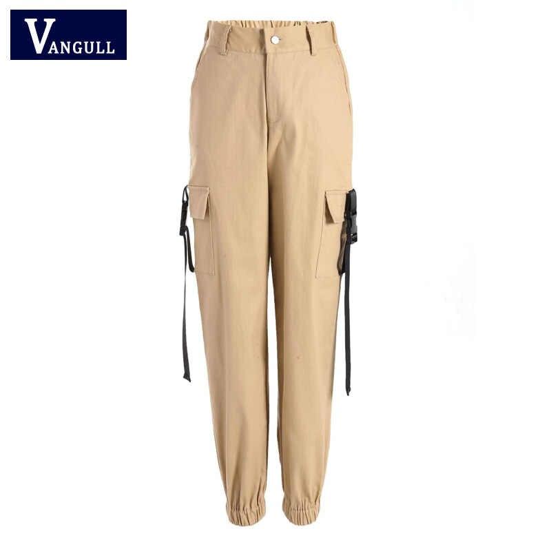 Vangull 2019 primavera streetwear calças de carga das mulheres ocasionais corredores preto calças de cintura alta soltas calças femininas calças das senhoras capri