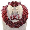 A venda direta de moda artesanal corda cadeia de cinco partes e vermelho transparente contas de cristal africano conjuntos de jóias