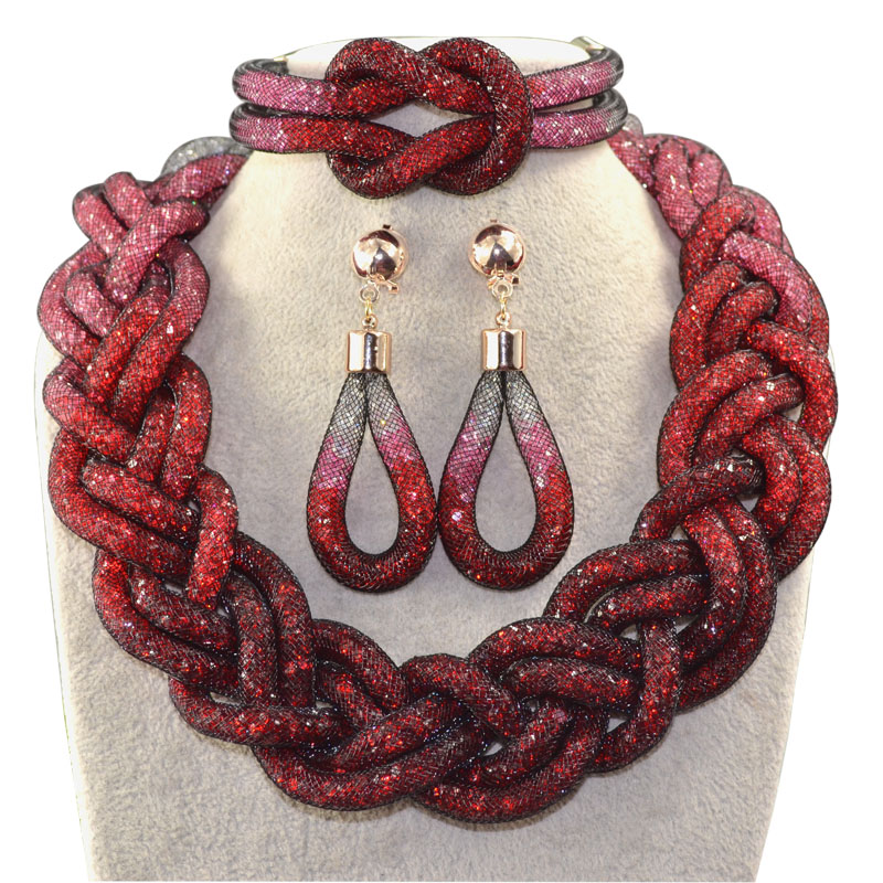 Direct selling fashionable handmade five shares rope chain and red transparent crystal african beads jewelry sets
