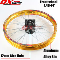 Dirt bike 1.40 14 Inch Alloy Rim Front Wheels 32 holes Fit 60/100 14 Tyre Use Kayo BSE Pit Bike Spare Parts 12mm or 15mm Axle