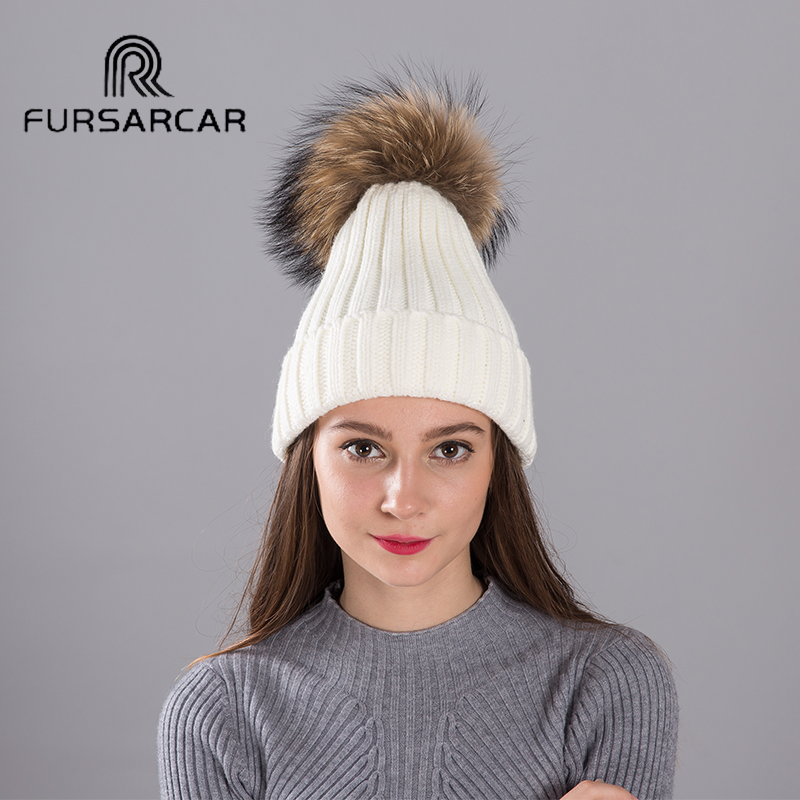 FURSARCAR Real Fox Fur Pompom Hats For Women NEW Solid Colors Skullies Beanies Hat Female Thick