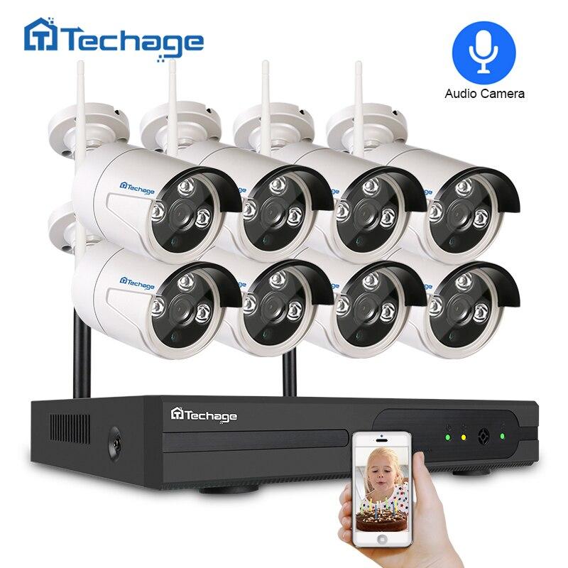 Techage 8CH Wifi CCTV Système Sans Fil NVR Kit 720 p/960 p/1080 p Extérieure Audio Son Caméra p2P Vidéo Surveillance de Sécurité Ensemble