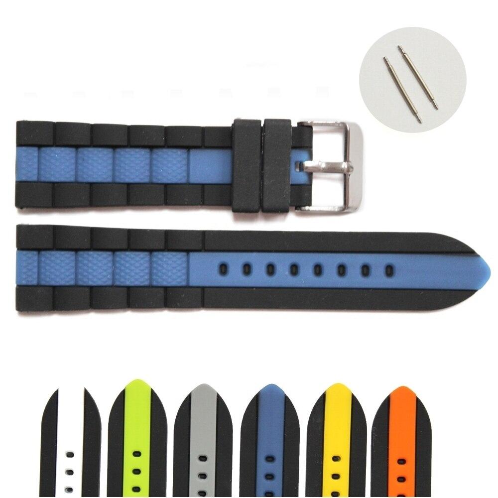 22mm en gros 18 Pcs/Lots vert gris bleu blanc multicolore nouveau Silicone gelée caoutchouc unisexe bracelet de montre sangles WB1050-22 - 4
