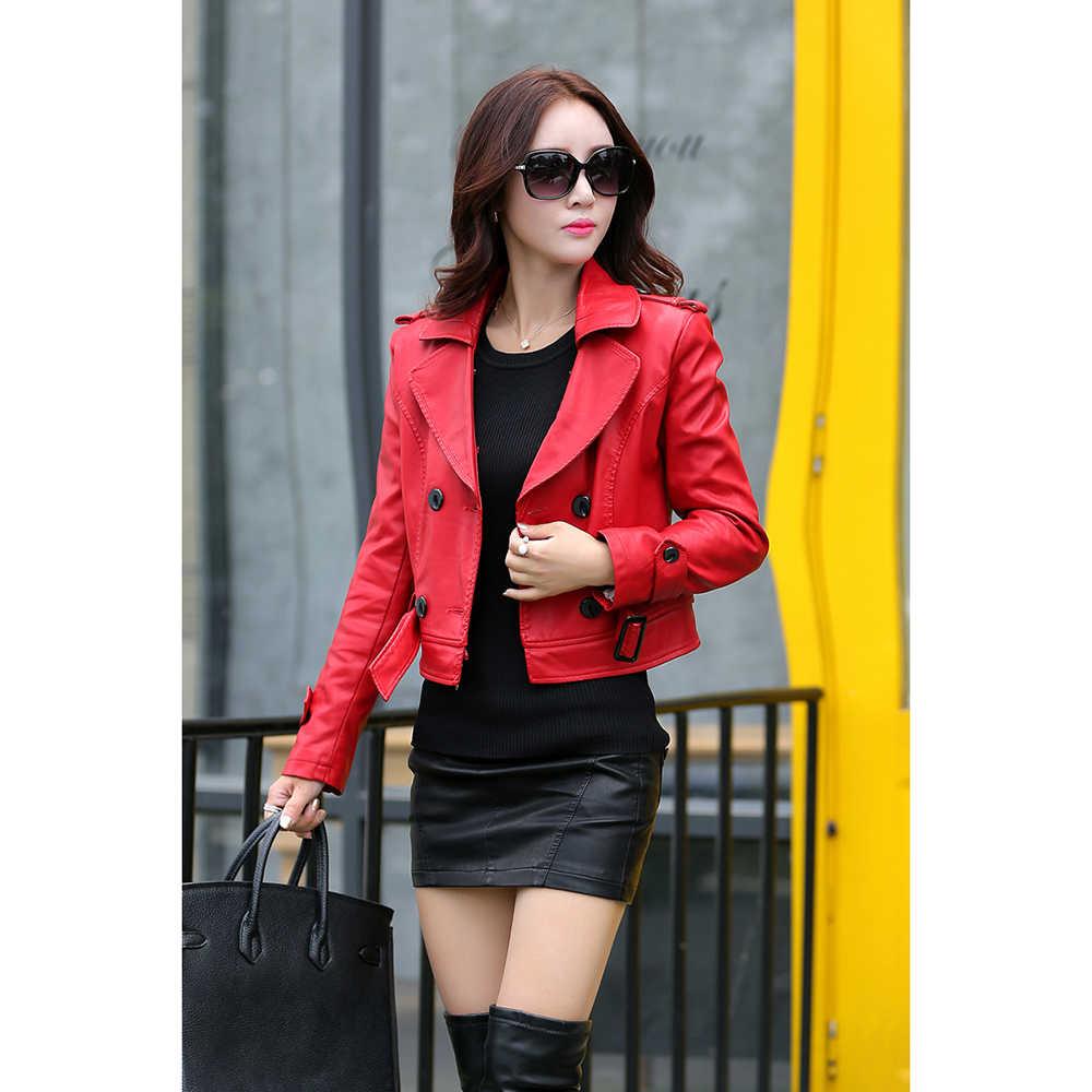 48effce1c2961 ... Leather Coat women New Style Waist Separated Desigan Women Fur Collar  Leather Jacket Women suede Coat