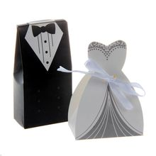 ALIM 100 pcs Tuxedo Dress Groom Bridal Candy Gift Boxes Wedding Party Favour
