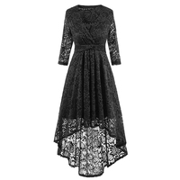 Womens Autumn Elegant Sexy Lace See Through Tunic Casual Club Half Sleeve Bride Vestido Skater A Line Party Dresses