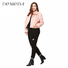 DOMODA Plus Size Fashion Women Clothing Solid Broken Hole Pants Street Style Slim Big Size Jeans 3XL 4XL 5XL 6XL